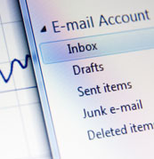 Close-up image of an inbox